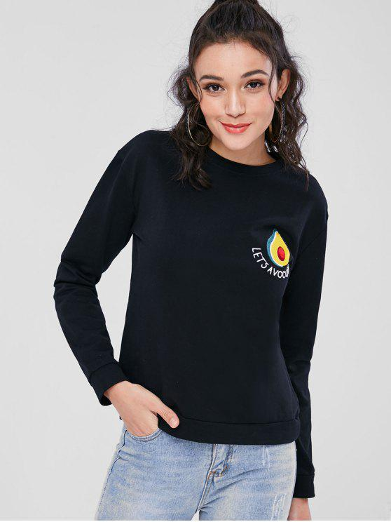 Avocado Besticktes Sweatshirt - Schwarz L