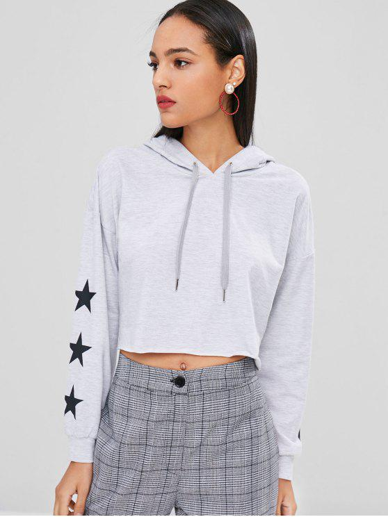 latest Star Print Graphic Crop Boxy Hoodie - LIGHT GRAY L