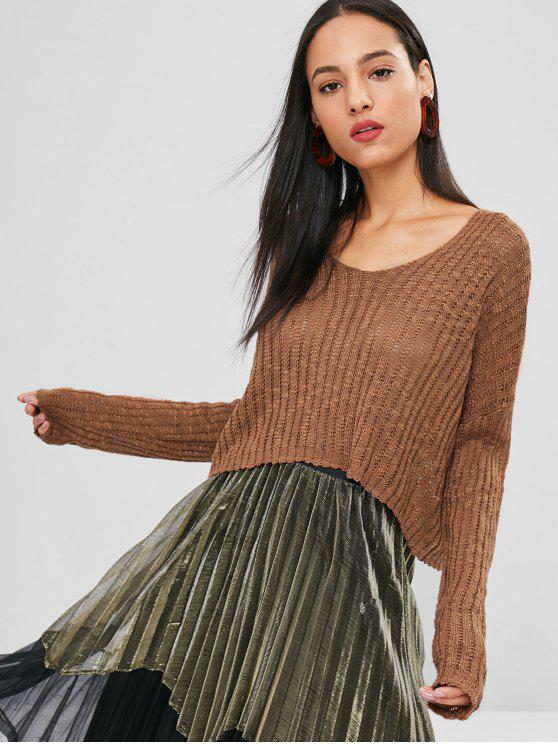 women Low Cut Loose Knit Sweater - BROWN ONE SIZE