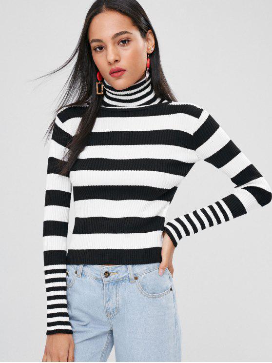 Stehkragen Gestreifter Pullover - Schwarz Eine Größe