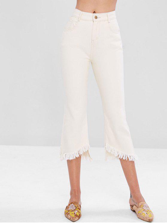 lady Frayed Uneven Hem Flare Jeans - WARM WHITE L