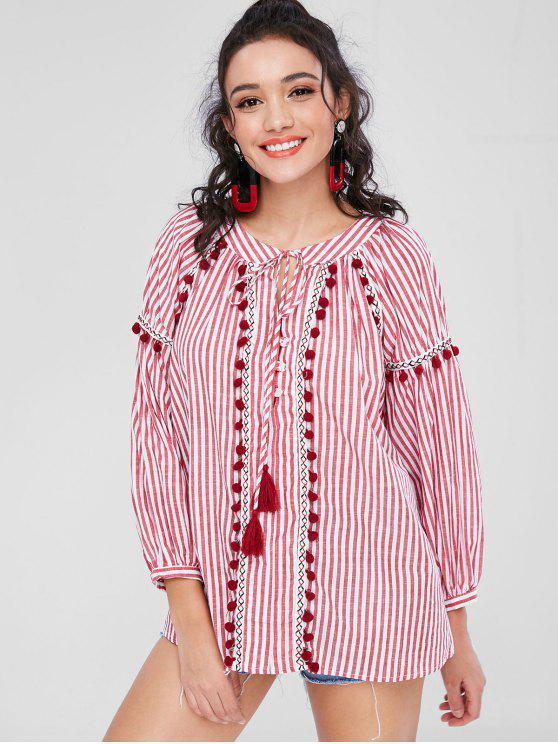 shop Long Sleeve Striped Pom Pom Smock Top - RED L