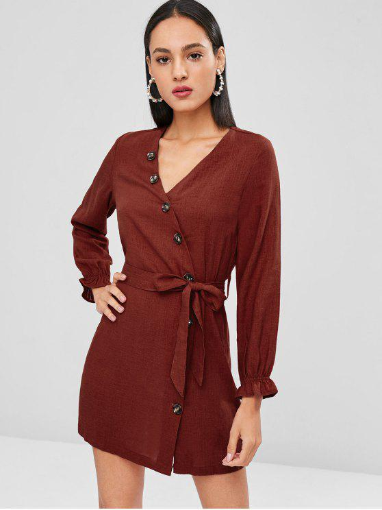 fancy Side Button Belted Long Sleeve Dress - CHESTNUT RED M