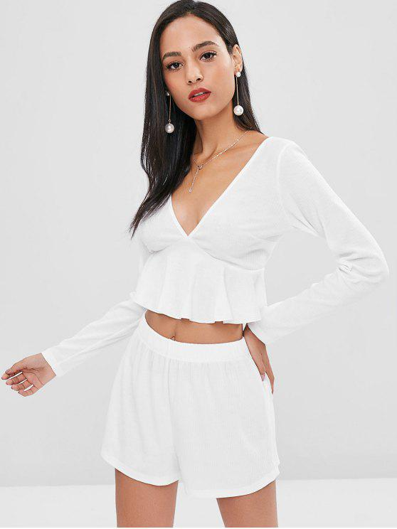 outfits Ruffles Low Cut Shorts Set - WHITE L