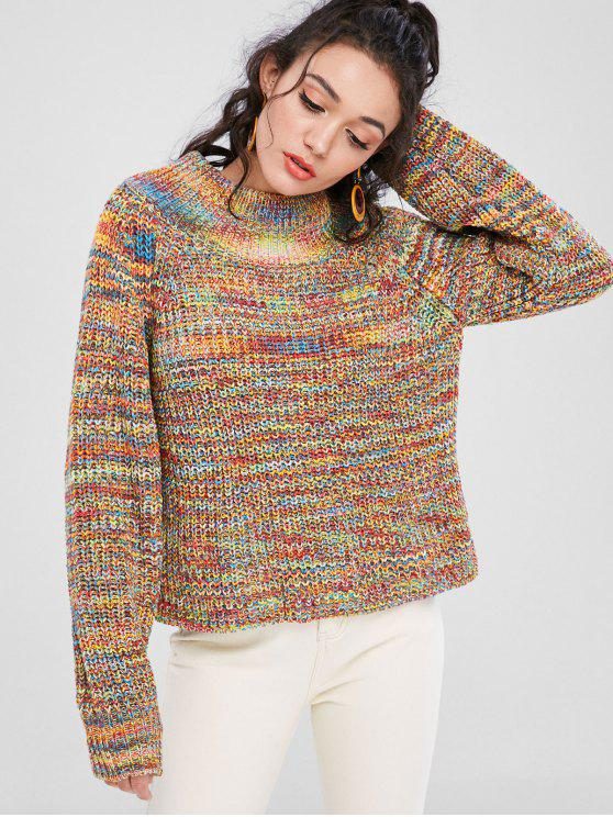 chic Funnel Neck Chunky Colorful Jumper Sweater - MULTI L