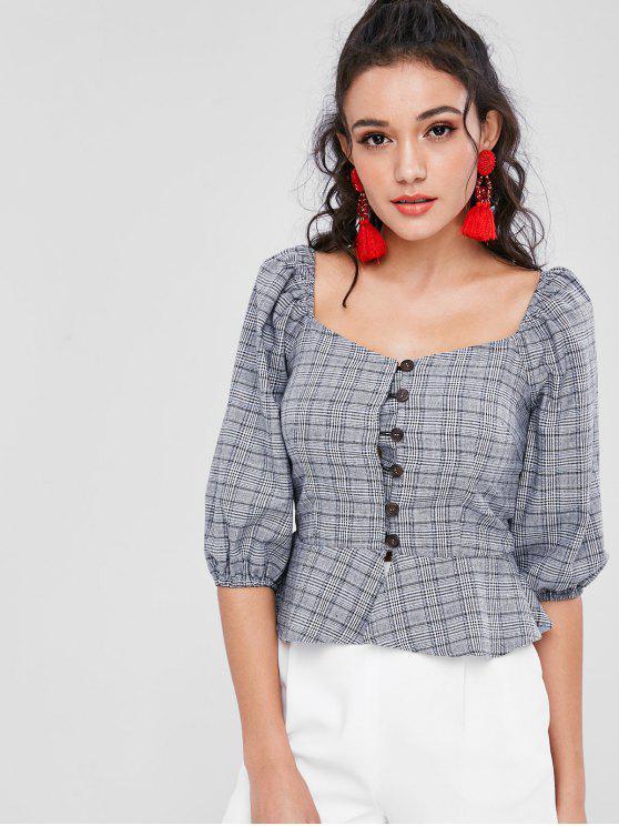 women's Sweetheart Neck Tartan Peplum Blouse - GRAY XL