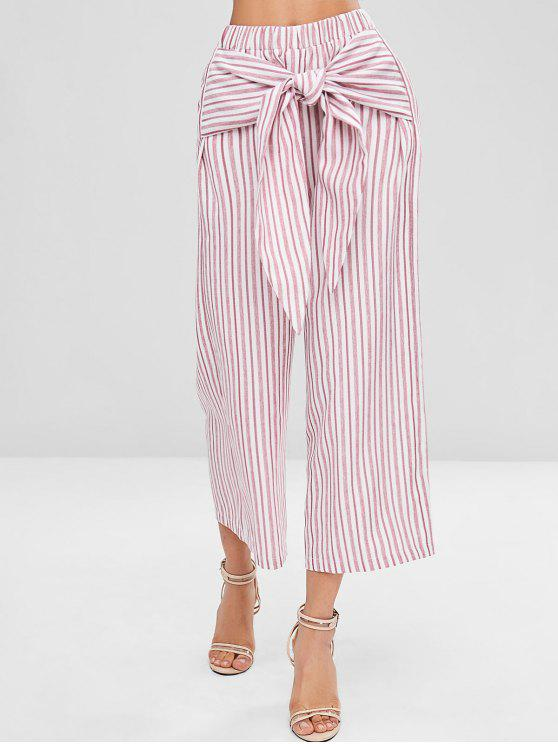 hot Knot Striped Wide Leg Pants - PIG PINK XL