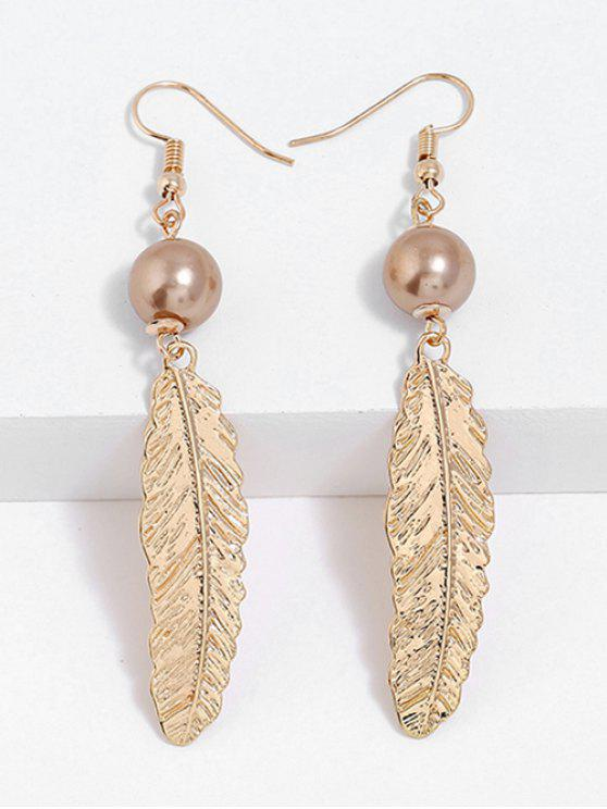 shops Feathers Designed Drop Hook Earrings - GOLD