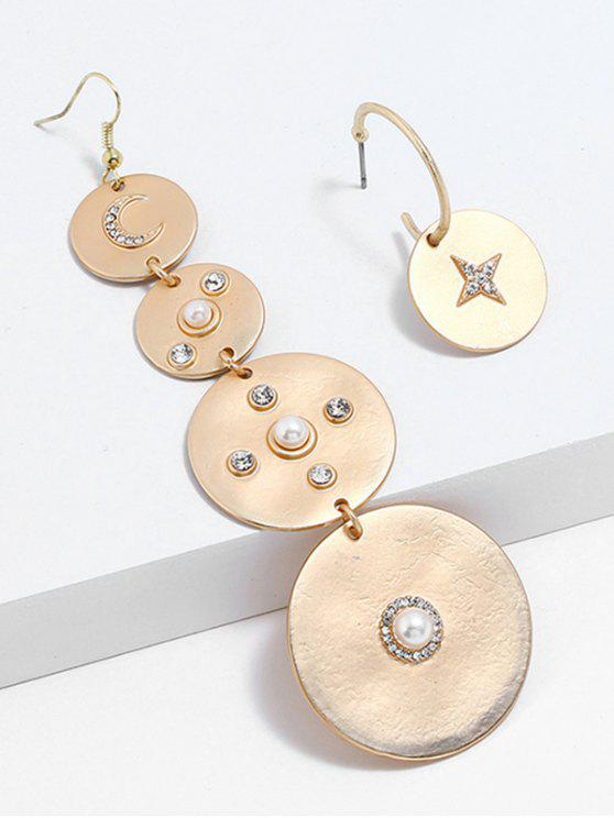 chic Rhinestone Fake Pearl Asymmetric Earrings - GOLD