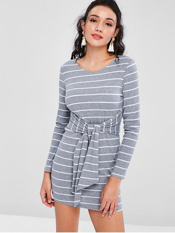 ladies Striped Knot Long Sleeve Knitted Dress - GRAY XL