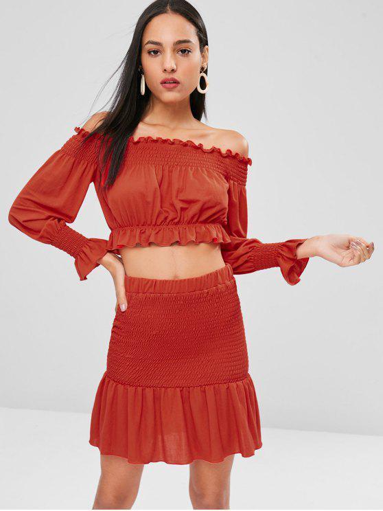 women's Frills Crop Top and Flounce Skirt Set - LOVE RED L