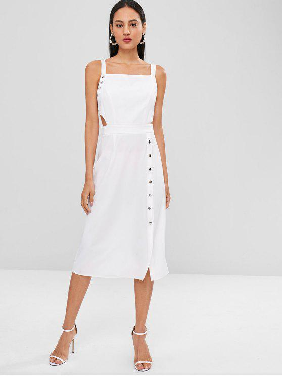 sale Midi Backless Cut Out Casual Dress - WHITE M