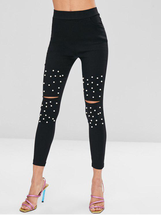 outfits Faux Pearl Shredded Pencil Pants - BLACK L