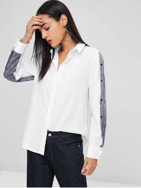 Kariertes Panel Lässiges Tunika-Shirt - Weiß XL