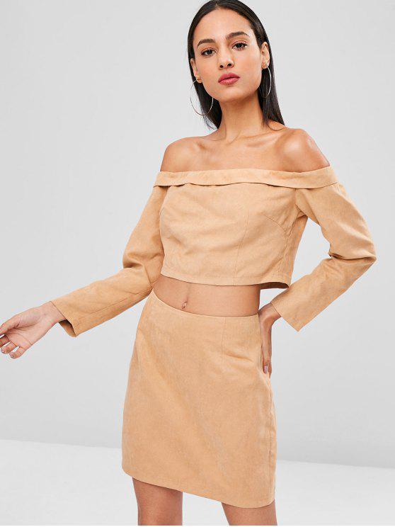 womens Off Shoulder Crop Top and Skirt Set - CAMEL BROWN L