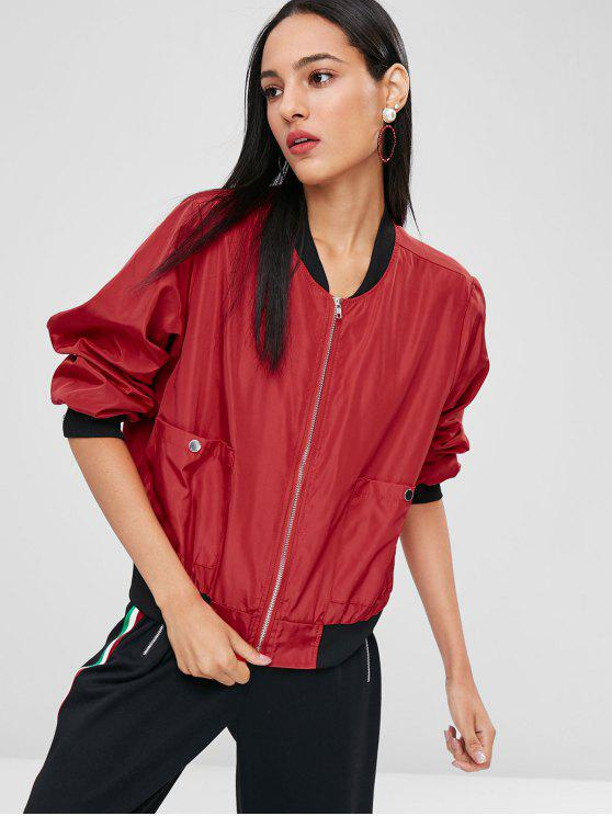 hot Letter Patch Bomber Jacket - RED S