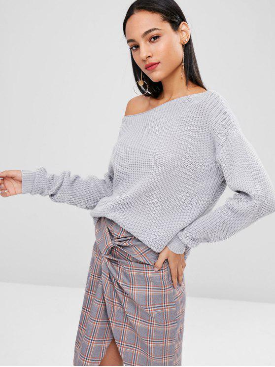 shop Drop Shoulder Skew Neck Sweater - BLUE GRAY XL