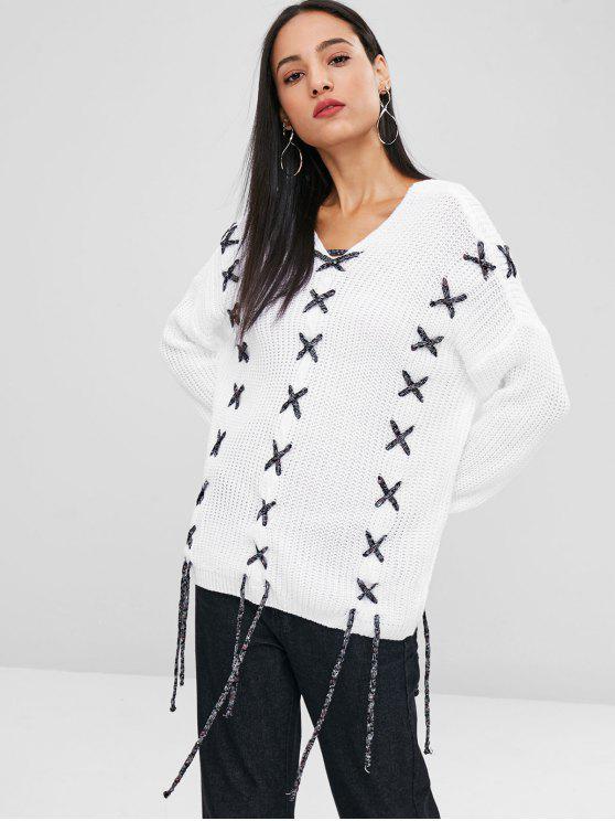 unique Lace Up Drop Shoulder Sweater - WHITE L