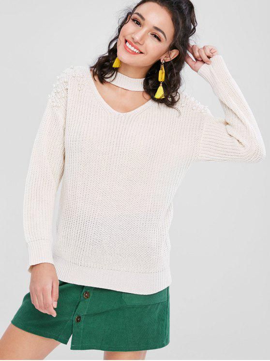 chic Beading Keyhole Sweater - WARM WHITE L