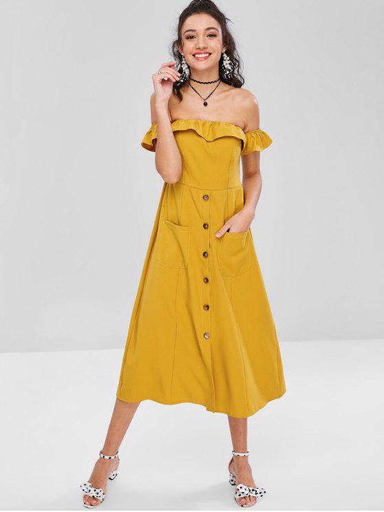 women Off Shoulder Ruffles Buttoned Dress - GOLDEN BROWN M