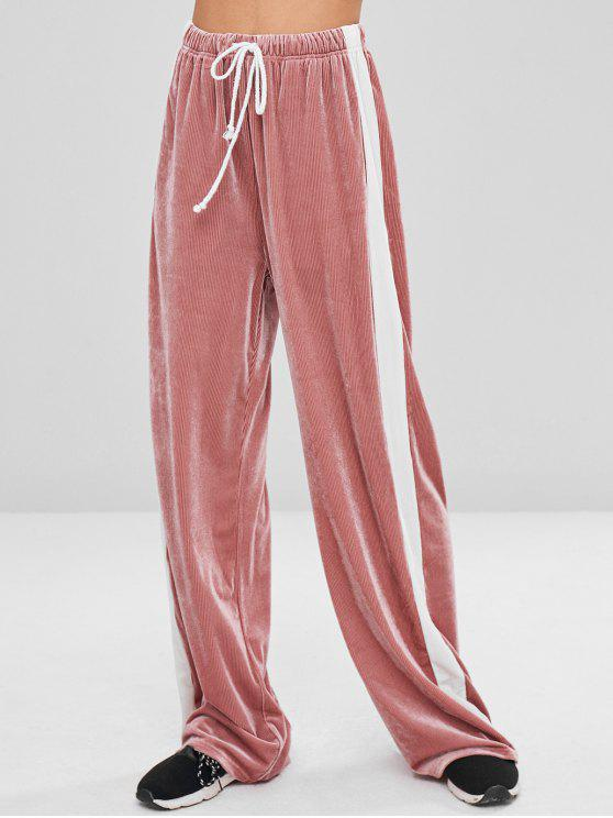 outfits Corduroy Contrast Side Wide Leg Pants - PINK DAISY XL