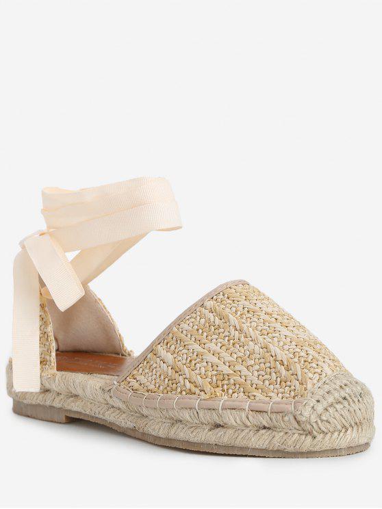 รองเท้าแตะ Espadrille Straw Lace Up Sandals - แอปริคอท 39