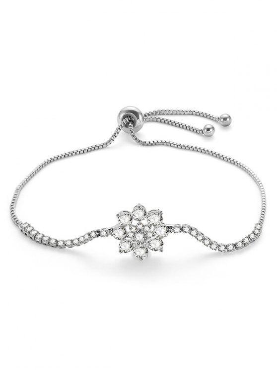 Bracelet réglable en forme de fleur en strass - Argent
