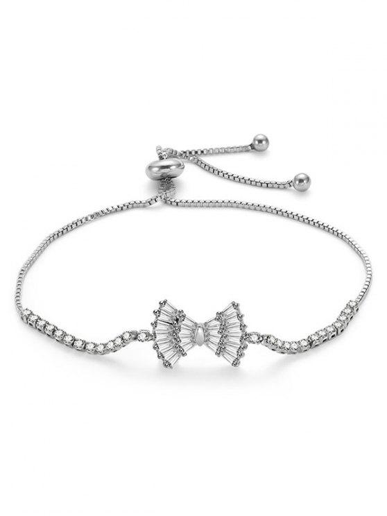 Bowknot Design Strass verstellbare Armband - Silber