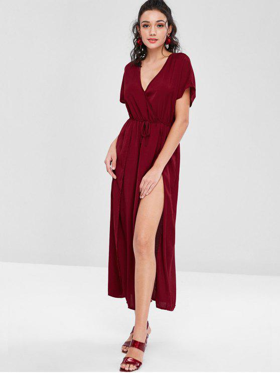 best Crossover Double Slit Maxi Dress - RED WINE S