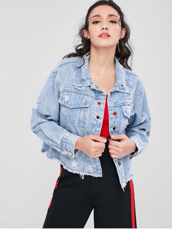 Rasgado Grommet Denim Jacket - Azul Denim L