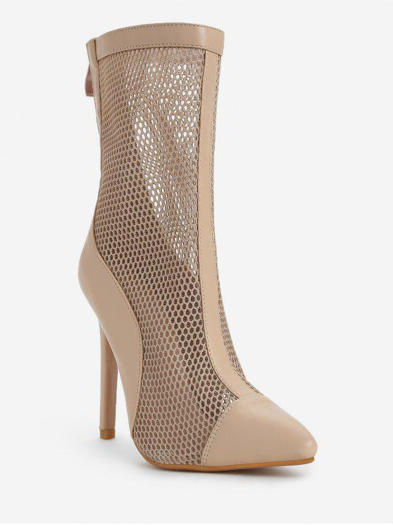 womens Pointed Toe High Heel Fashion Boots - APRICOT 39