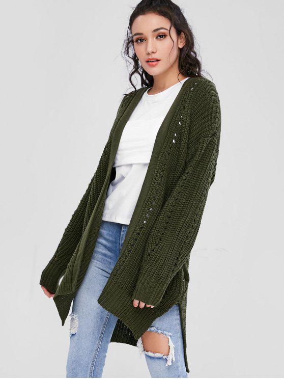 chic Open Front Chunky Oversized Cardigan - ARMY GREEN L