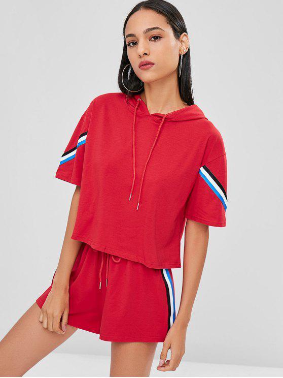 T-Shirt Con Cappuccio E Pantaloncini A Righe A Contrasto - Rosso Amore S
