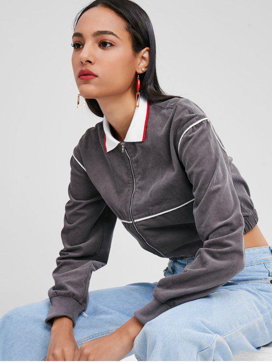 women's Crop Zipper Corduroy Jacket - GRAY M