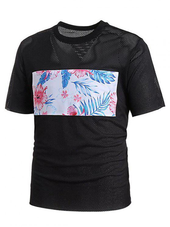 fashion Mesh Floral Print Patch Tee - BLACK 2XL
