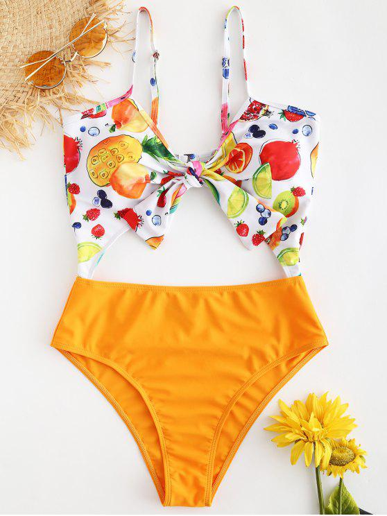affordable Knot Fruit Print Backless Swimsuit - CANTALOUPE M