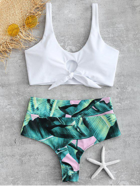 Palm Knotted hoch taillierte Bikini-Set - Weiß S