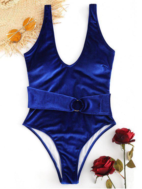 Costume Da Bagno In Velluto Con Taglio Alto Senza Schienale - Blu Scura Denim  M