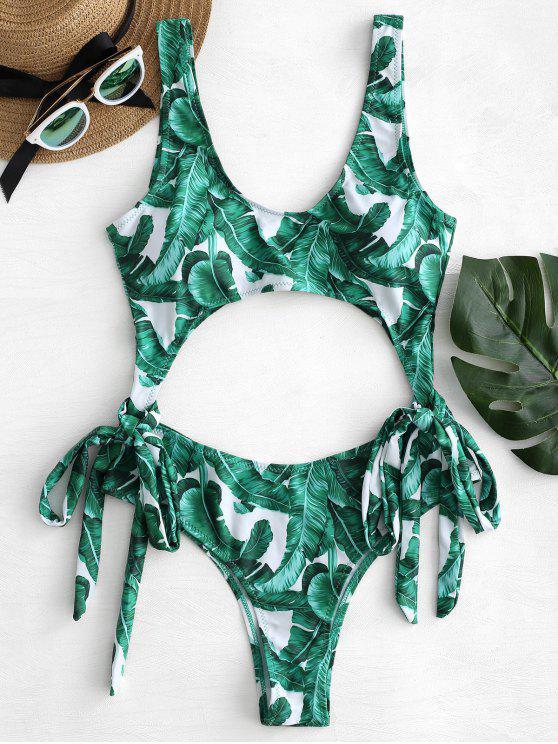 Tropischer Blatt Bowknot Monokini Badeanzug - Weiß L