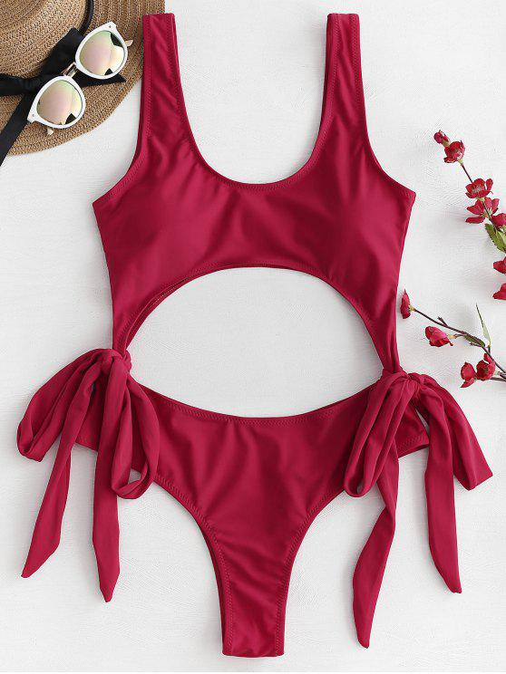 affordable Bowknot Cutout Swimsuit - LOVE RED S