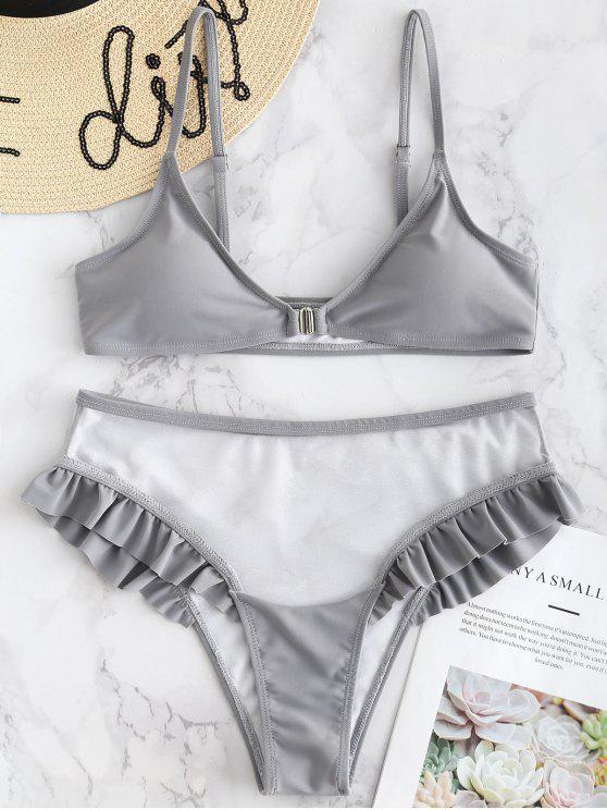 online Mesh Panel Ruffle Front Closure Bikini - LIGHT SLATE GRAY M