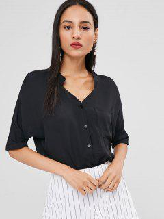 Button Up Longline Pocket Blouse - Black S