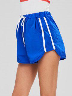 Striped Patched High Waist Shorts - Blue