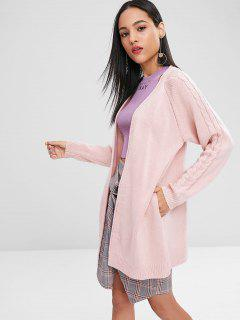 Cable Knit Raglan Sleeve Cardigan - Pig Pink