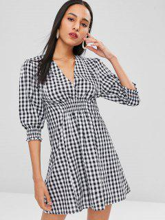 Smocked Checked A Line Dress - Black S