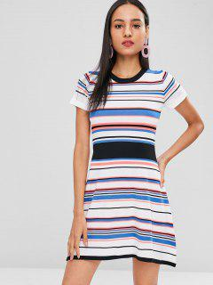 A Line Striped Knitted Dress - Multi