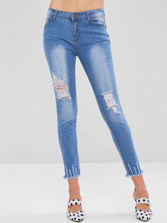 Ripped Frayed Hem Jeans - Denim Blue L