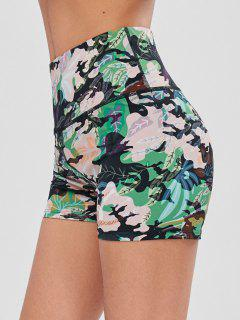 Leaf Print High Waisted Gym Bike Shorts - Forest Green S