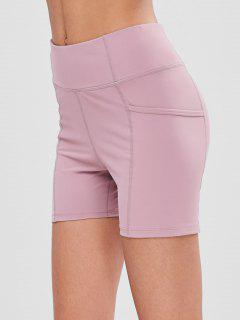 High Waisted Pockets Sports Shorts - Pink M