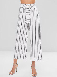 Striped Wide Leg Pants - White M
